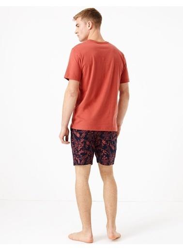 Marks & Spencer Saf Pamuklu Kısa Kollu Pijama Takımı Oranj